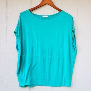 Zara Oversized Solid Blue Top Drop Shoulder Small